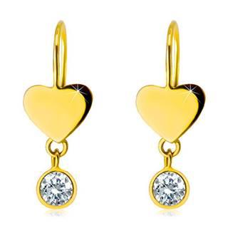Náušnice v žltom 14K zlate - súmerné ploché srdiečko a okrúhly číry zirkón v objímke