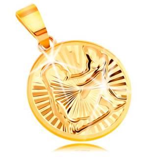 Prívesok v žltom 14K zlate - kruh s ligotavými lúčovitými zárezmi - PANNA