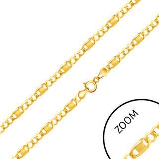 Retiazka v žltom 14K zlate - tri oválne očká, podlhovastý článok zdobený známkou, 500 mm