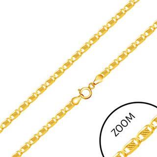 Retiazka zo žltého 14K zlata - oválne články zdobené obdĺžnikom uprostred, 450 mm