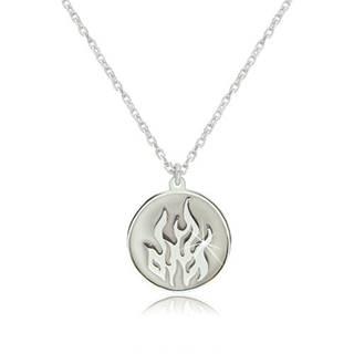 Strieborný náhrdelník 925 - element ohňa v okrúhlej lesklej línii