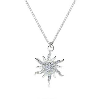 Strieborný náhrdelník 925 - trblietavé zirkónové slniečko so zvlnenými lúčmi