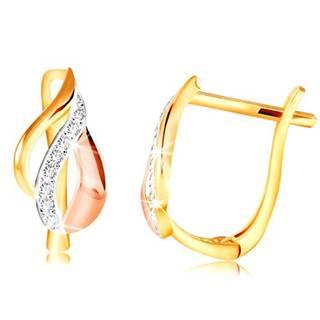 Zlaté 14K náušnice - list z oblúkov v troch odtieňoch zlata, číre zirkóny