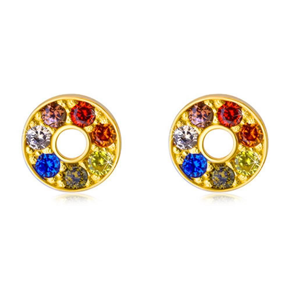Šperky eshop Lesklé zlaté náušnice 585 - kontúra kruhu s farebnými zirkónmi a výrezom uprostred