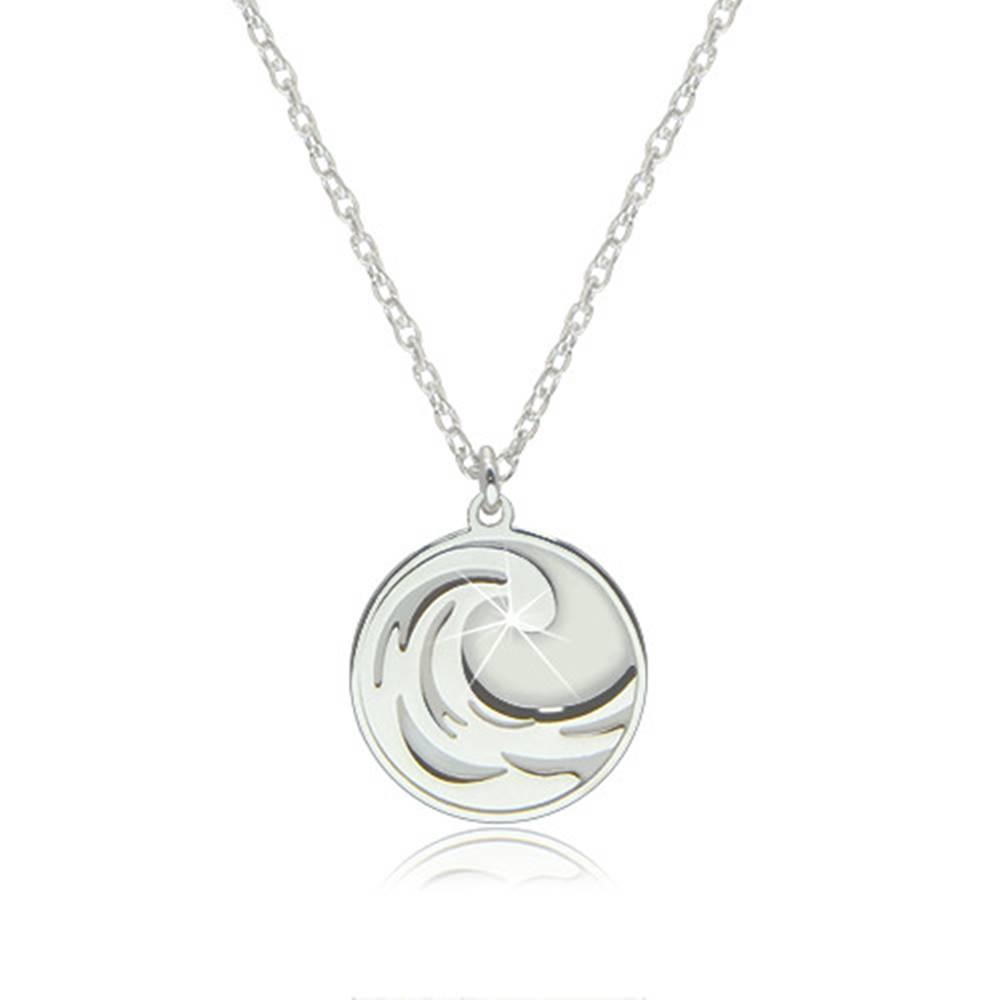 Šperky eshop Náhrdelník zo striebra 925 - element vody v okrúhlej lesklej kontúre