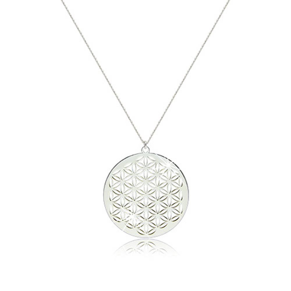 Šperky eshop Náhrdelník zo striebra 925 - lesklý symbol kvetu života