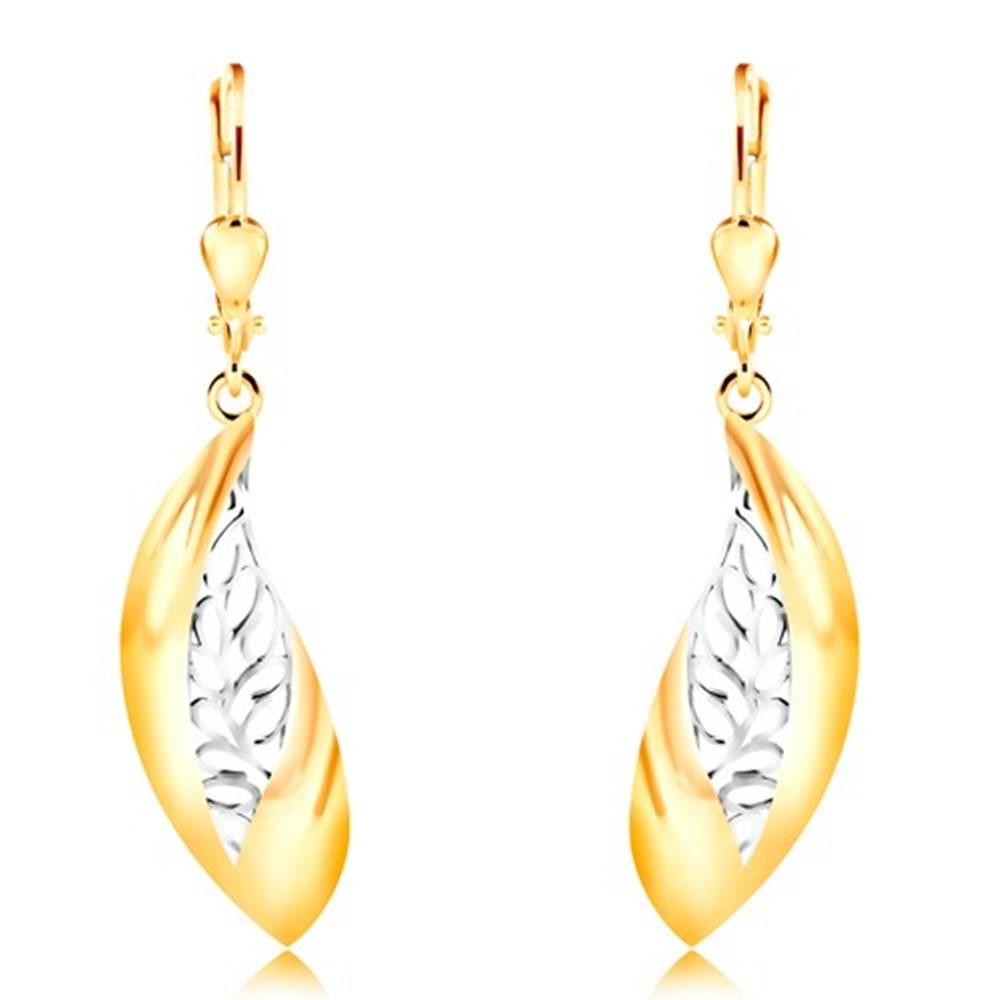 Šperky eshop Náušnice zo 14K zlata - veľký zahnutý list, pás z bieleho zlata a výrezov