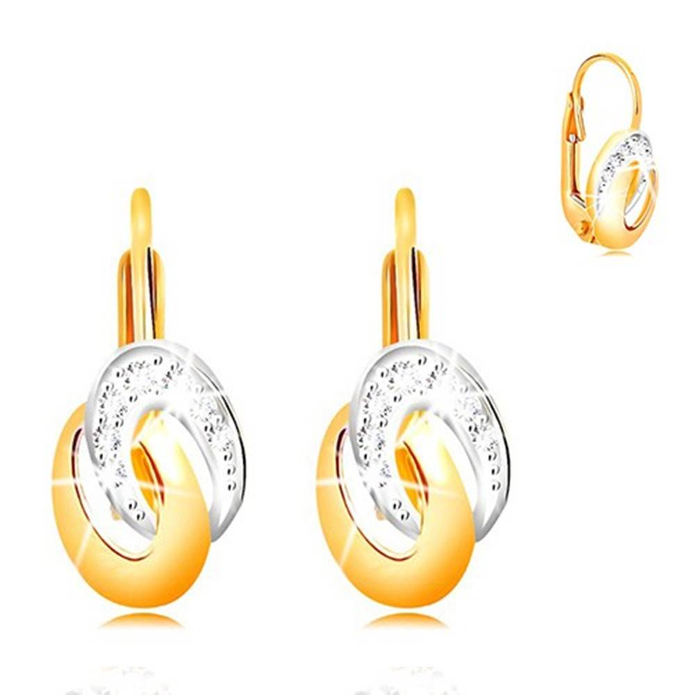 Šperky eshop Náušnice zo zlata 585 - dvojfarebné prepojené elipsy, číre zirkóny