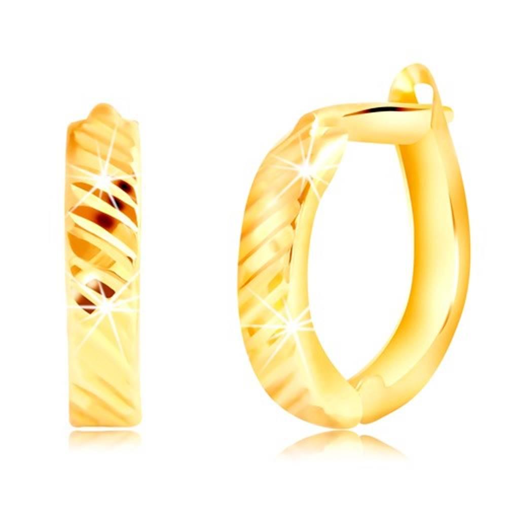 Šperky eshop Náušnice zo žltého zlata 585 - ovály s tenkými šikmými zárezmi, ruský patent