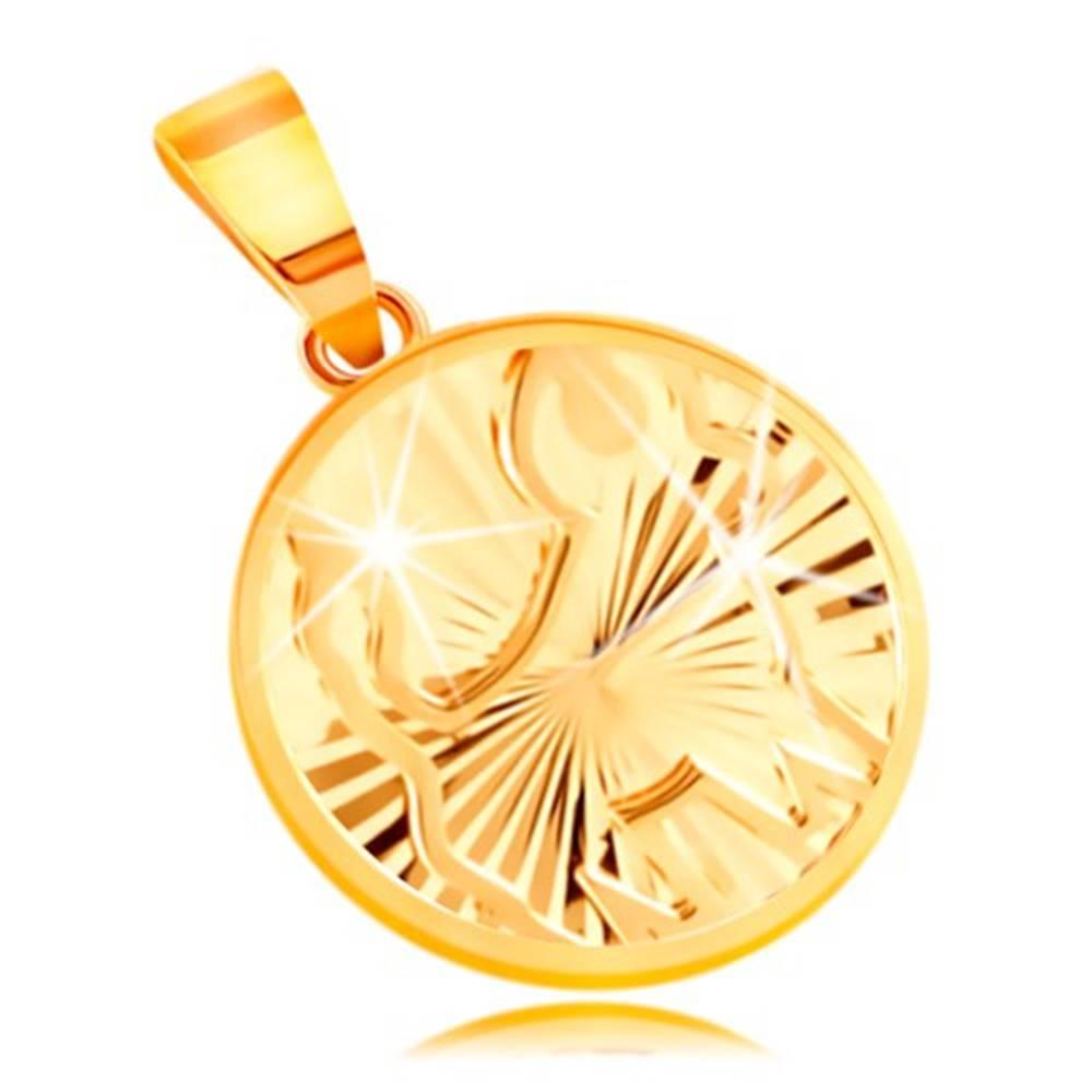 Šperky eshop Okrúhly prívesok v 14K žltom zlate - ligotavé lúčovité ryhy, znamenie BÝK