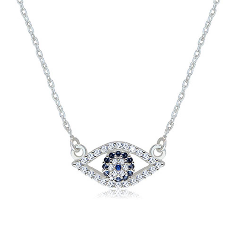 Šperky eshop Strieborný 925 náhrdelník - číre zirkónové očko s tmavomodrým syntetickým topásom