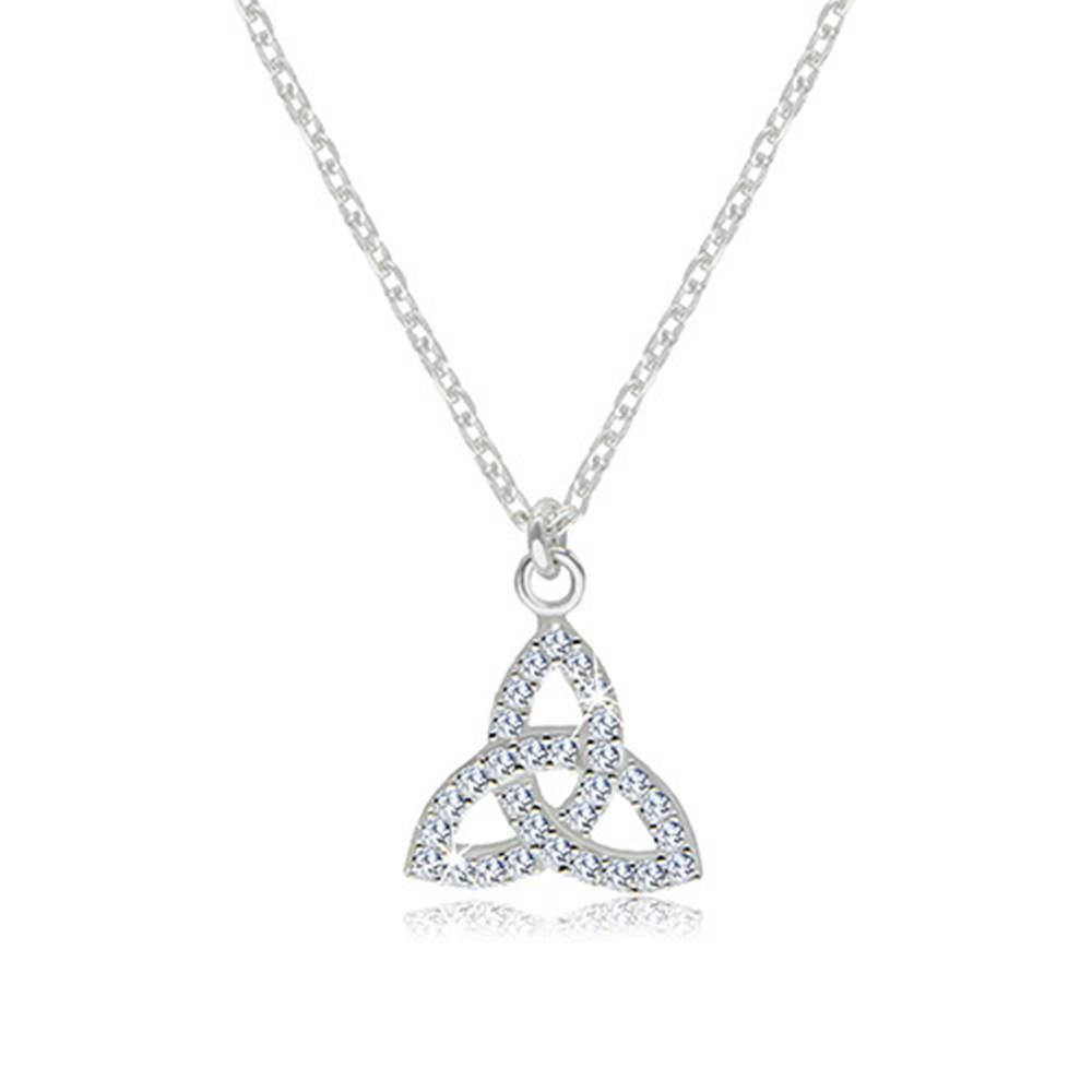 Šperky eshop Strieborný 925 náhrdelník - číry zirkónový symbol Triquetra