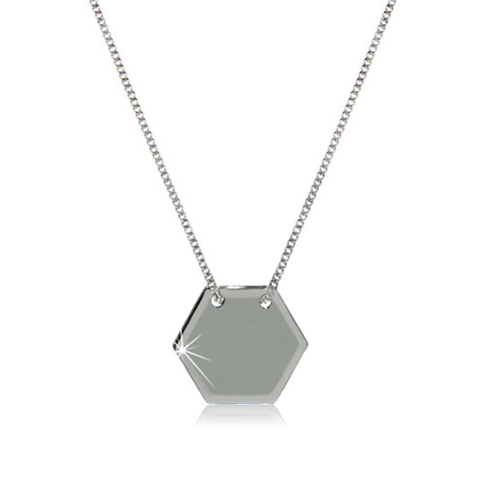Šperky eshop Strieborný 925 náhrdelník - lesklá šesťuholníková známka s hladkým povrchom