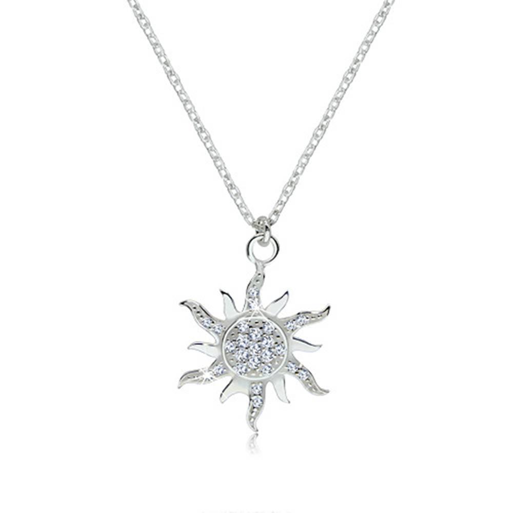Šperky eshop Strieborný náhrdelník 925 - trblietavé zirkónové slniečko so zvlnenými lúčmi
