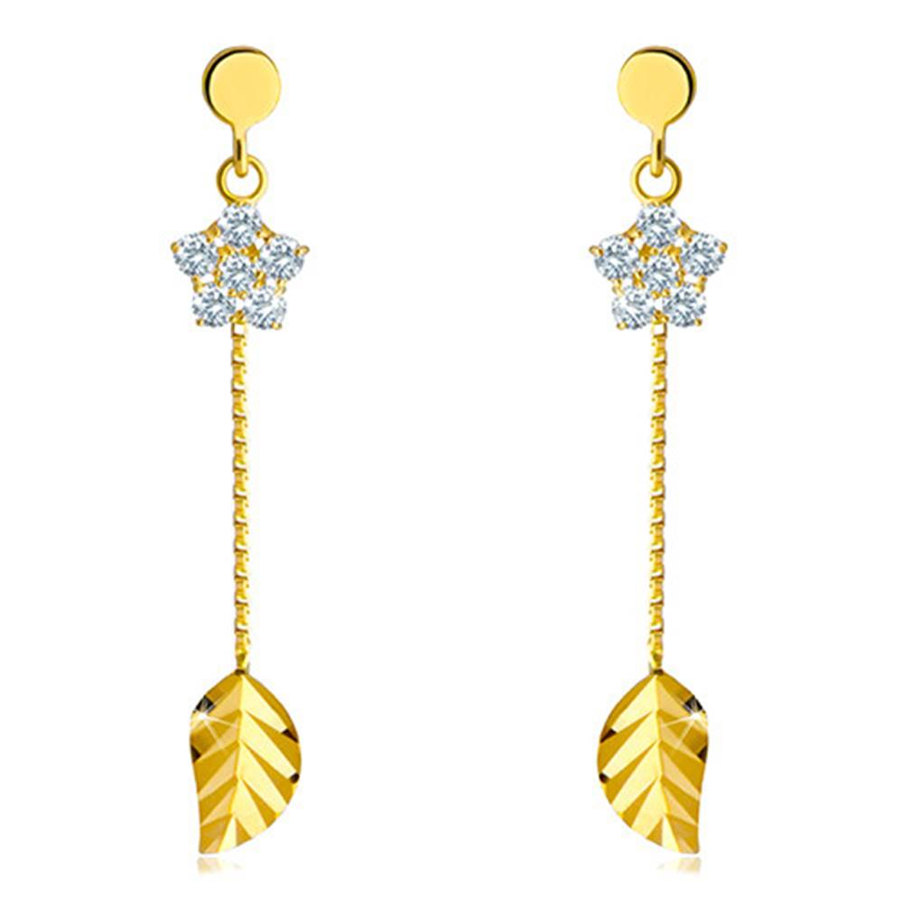 Šperky eshop Visiace náušnice zo 14K zlata - číry zirkónový kvietok s lupeňmi a ligotavý list