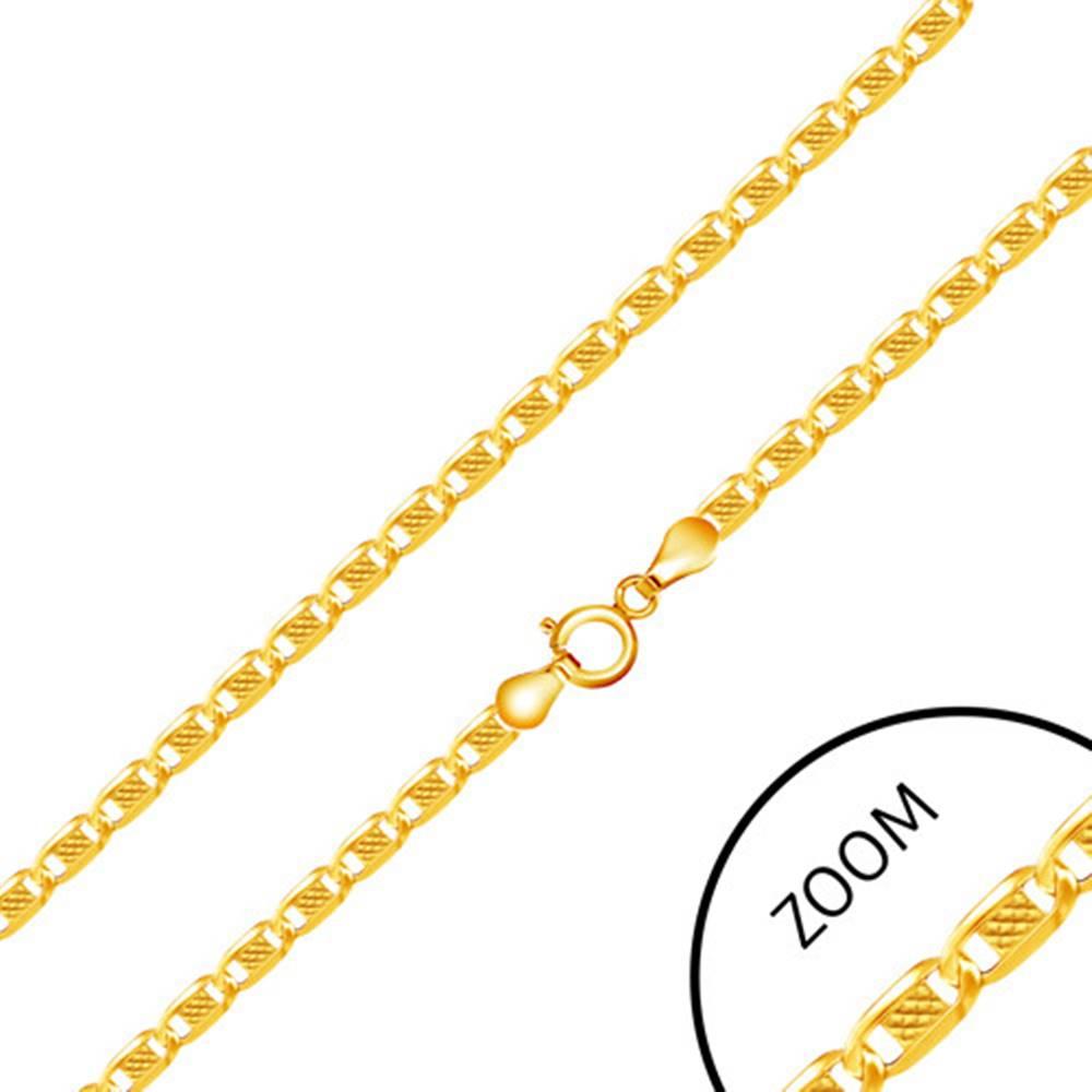 Šperky eshop Zlatá 585 retiazka - lesklé články zdobené obdĺžnikom s mriežkou, 500 mm