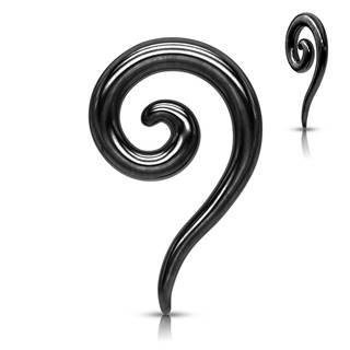 Expander z ocele do ucha v čiernom farebnom odtieni - hladká zatočená špirála - Hrúbka piercingu: 2 mm