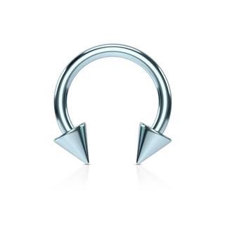Oceľový piercing do nosa s titánovou úpravou - podkova s hrotmi vo svetlomodrom prevedení - Rozmer: 1,2 mm x 8 mm x 3x3 mm