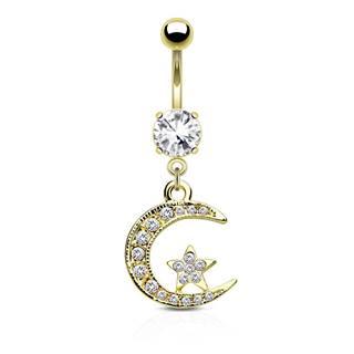 Oceľový piercing do pupku - mesiačik a hviezdička vykladané zirkónikmi, číry zirkón v kotlíku