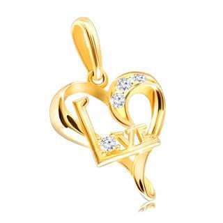 """Prívesok zo žltého 14K zlata - asymetrické srdiečko so zirkónikmi a nápisom """"Love"""""""