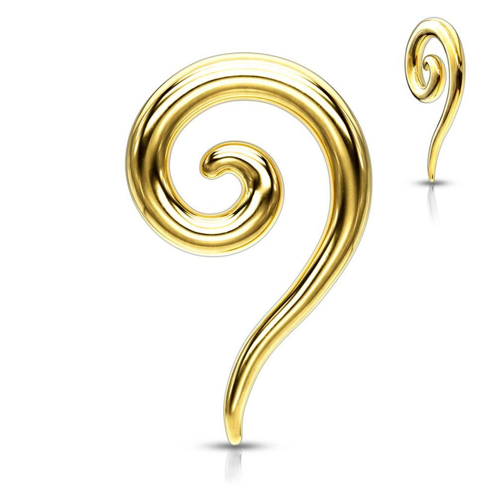 Šperky eshop Oceľový expander do ucha v zlatej farbe - hladká zatočená špirála - Hrúbka piercingu: 2 mm