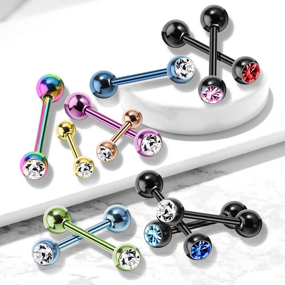 Šperky eshop Piercing do pery a brady z ocele - okrúhly zirkónik v hladkej objímke - Farba piercing: Čierna