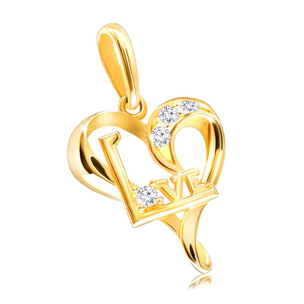 """Šperky eshop Prívesok zo žltého 14K zlata - asymetrické srdiečko so zirkónikmi a nápisom """"Love"""""""