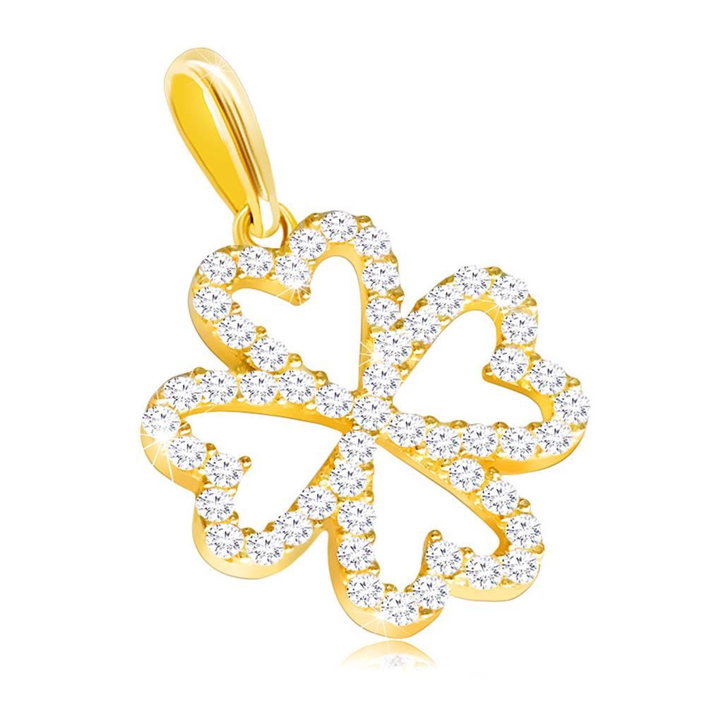 Šperky eshop Prívesok zo žltého 14K zlata - kontúra štvorlístka vykladaná čírymi zirkónikmi