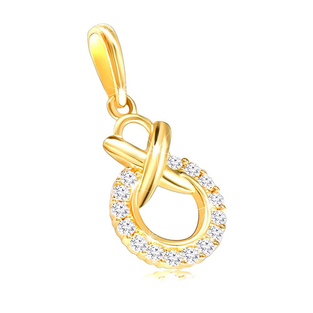 Šperky eshop Zlatý prívesok 585 - okrúhla kontúra vykladaná čírymi zirkónikmi prepletená s menším kruhom