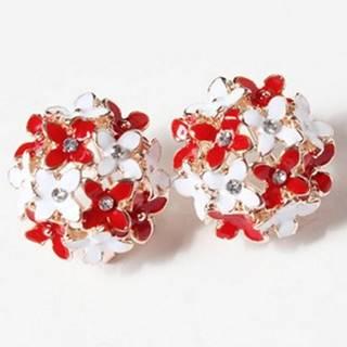Náušnice Bouquet-Biela/Červená