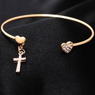 Náramok Heart Cross - Zlatá