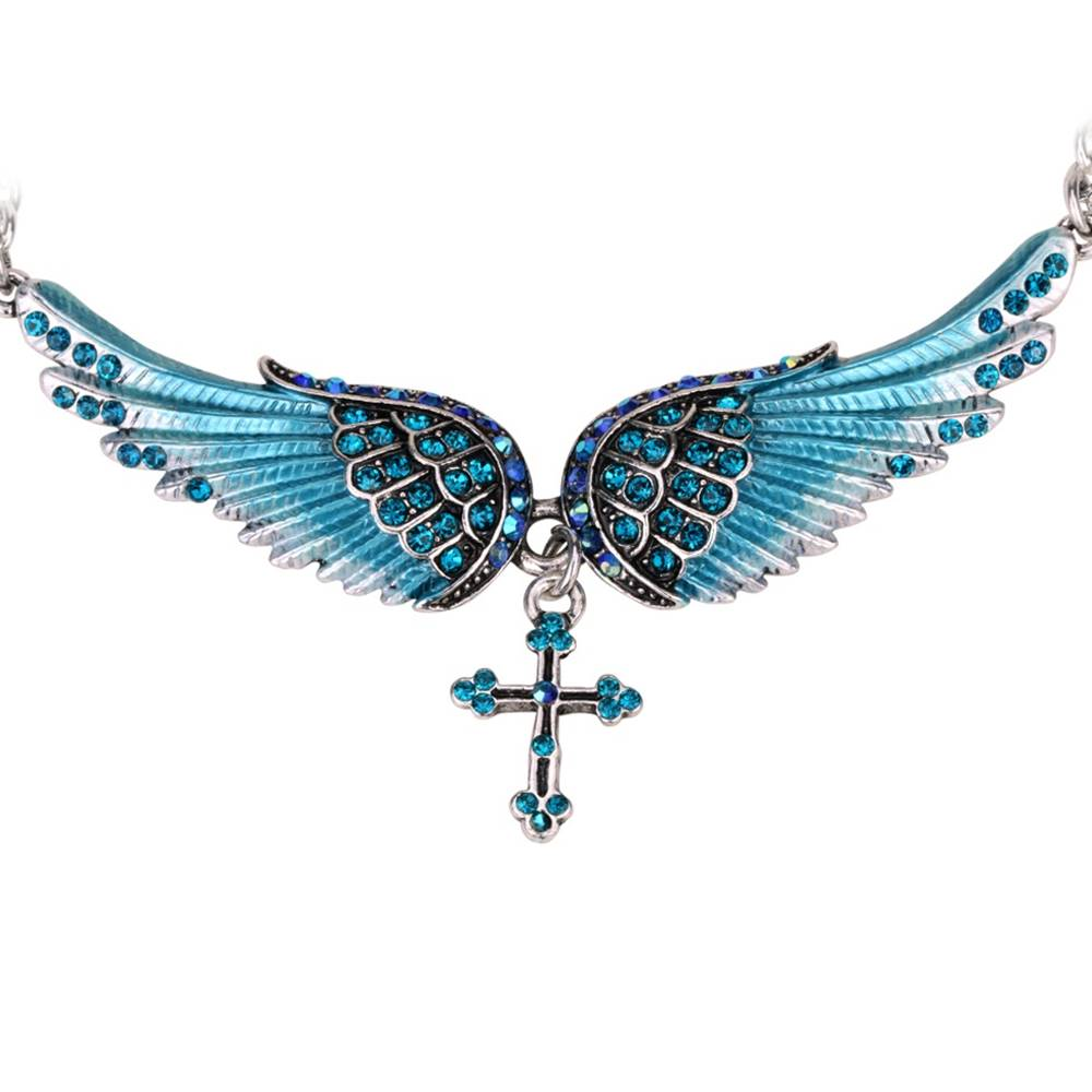 Izmael Náhrdelník Angel Cross-Modrá
