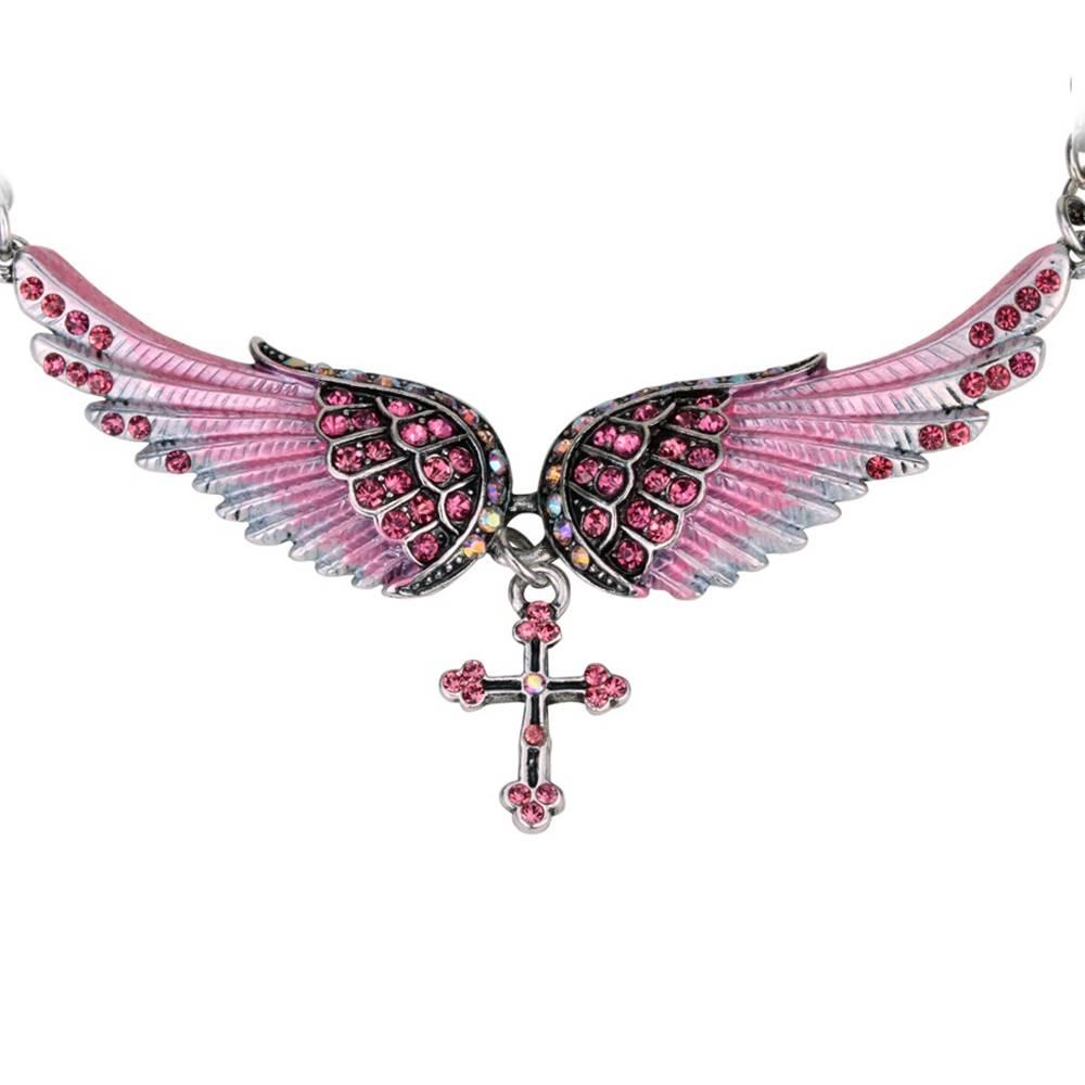 Izmael Náhrdelník Angel Cross-Ružová