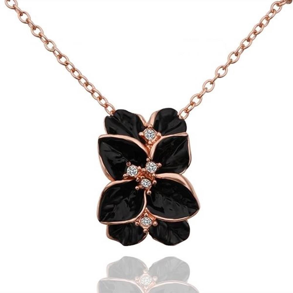 Izmael Náhrdelník Leaf Flower - Čierna