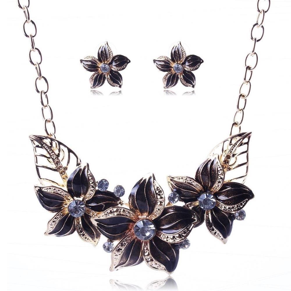 Izmael Set šperkov Varnish Flower - Čierna