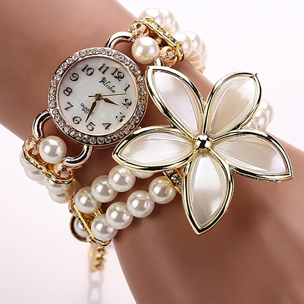 Izmael Hodinky Pearl Flower - Biela