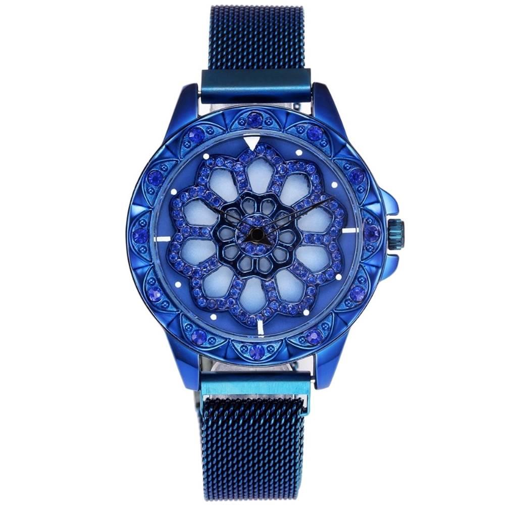 Izmael Magnetické Hodinky Flowers-Modrá