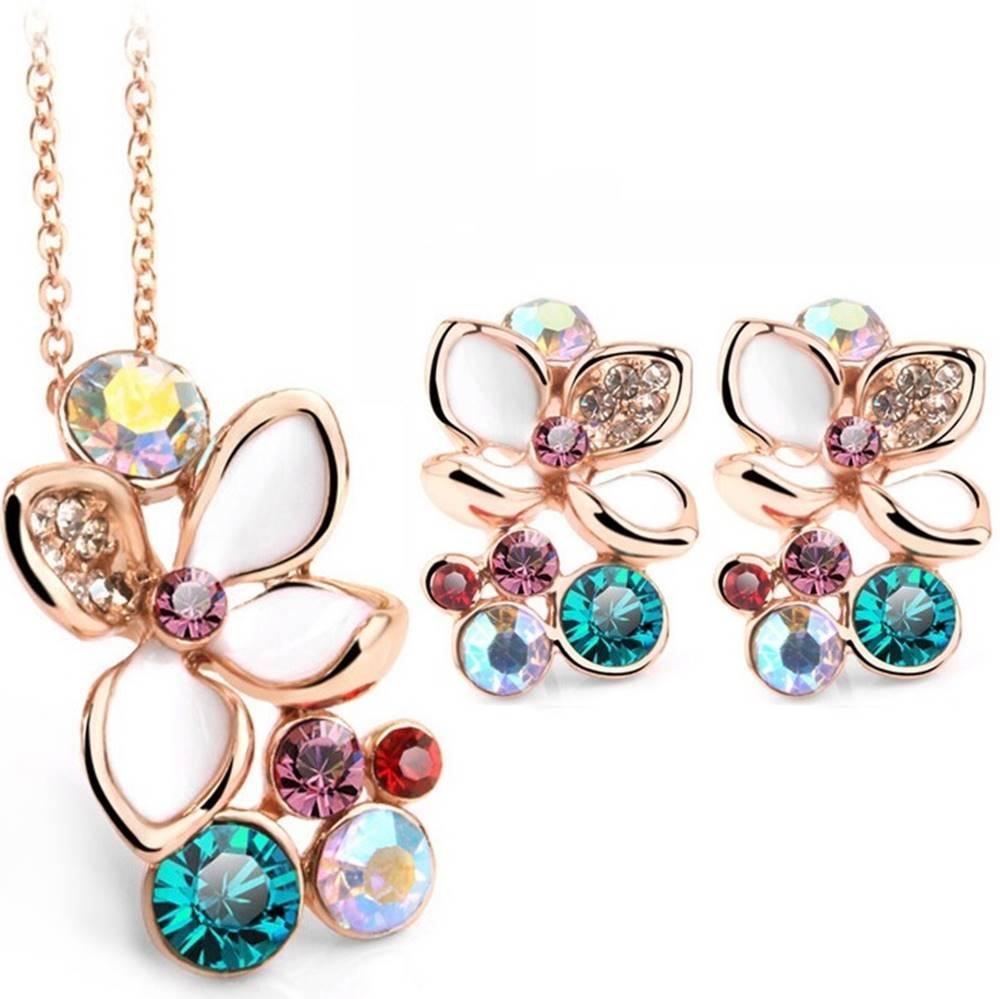 Izmael Set šperkov Enamel Flower - Zlatá