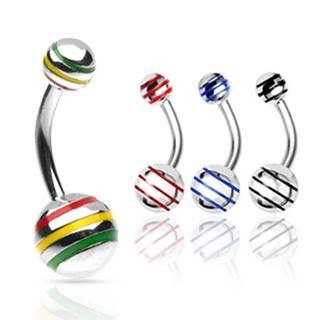 Piercing do pupka gulička s farebnými pásikmi - Rozmer: 10 mm x 8 mm, Farba zirkónu: Červená - Žltá - Zelená - JM