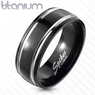 Titánový prsteň, dva pruhy - Veľkosť: 49 mm