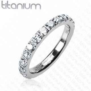 Titánový prsteň so zirkónmi po celom obvode - Veľkosť: 49 mm