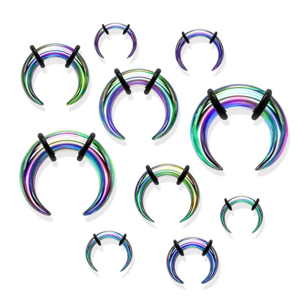 Šperky eshop Oceľový piercing do ucha v štýle buffalo, dúhová farba, čierne gumičky - Hrúbka: 1,6 mm