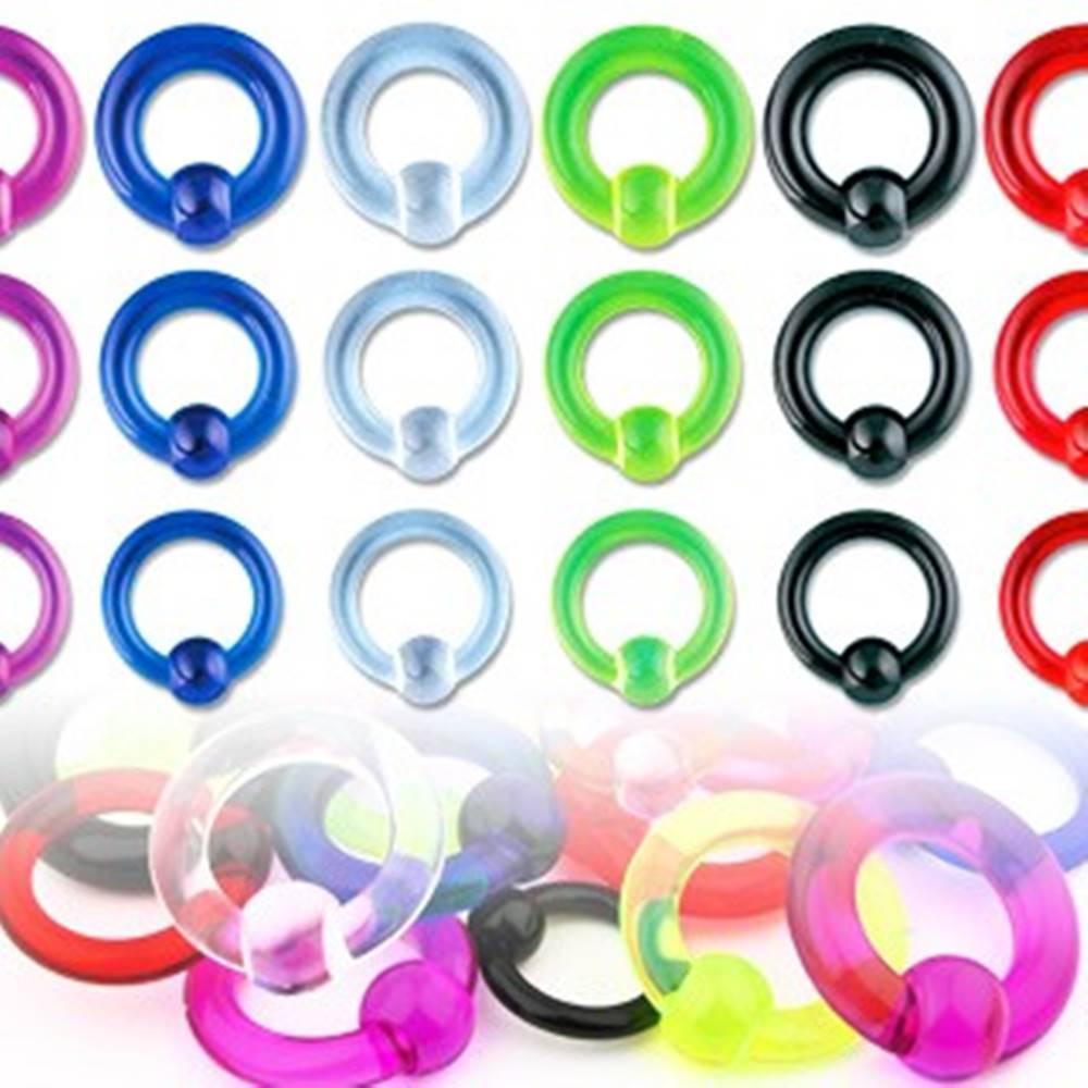 Šperky eshop Piercing UV krúžok s guličkou  - Rozmer: 1,6 mm x 12 mm x 4 mm, Farba piercing: Modrá