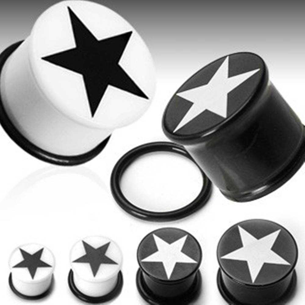 Šperky eshop Plug do ucha symbol hviezda - Hrúbka: 10 mm, Farba piercing: Biela