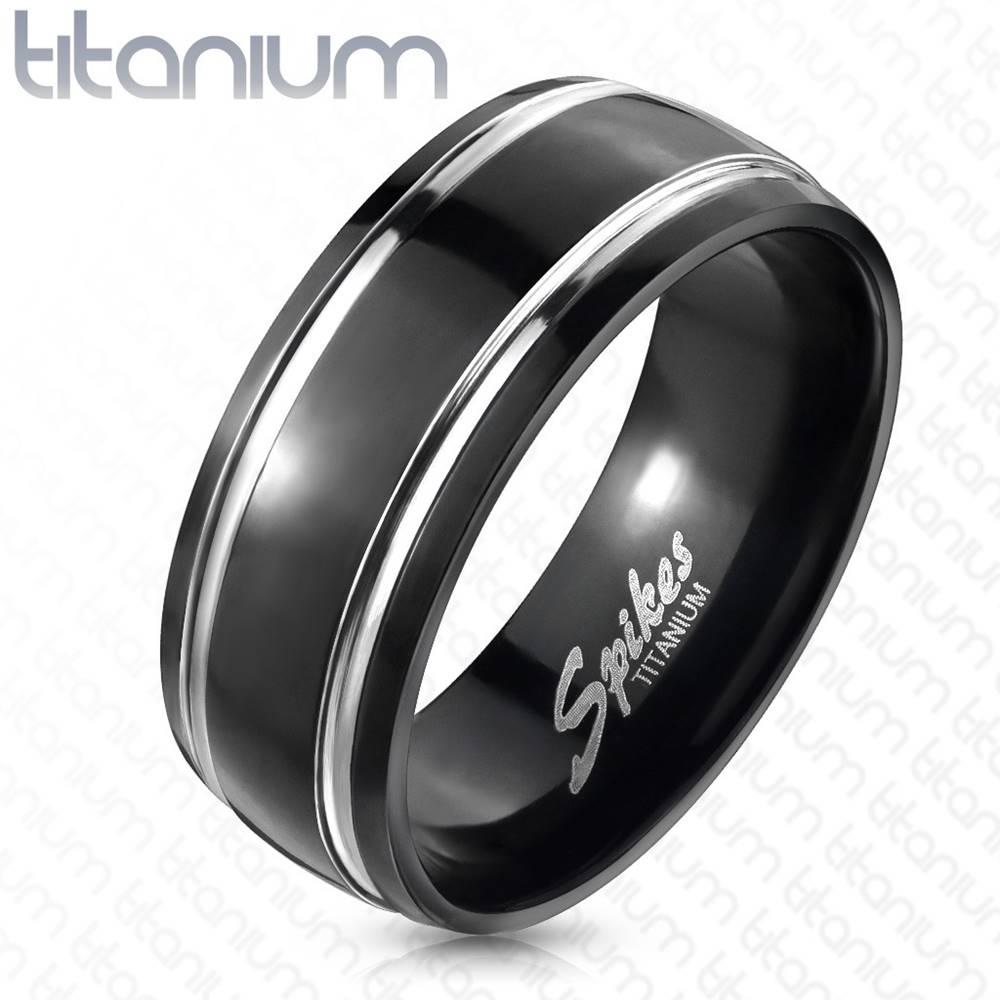 Šperky eshop Titánový prsteň, dva pruhy - Veľkosť: 49 mm