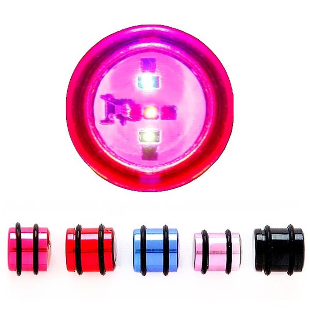 Šperky eshop Blikajúci plug do ucha, rôzne farby a rozmery - Hrúbka: 12 mm, Farba piercing: Modrá