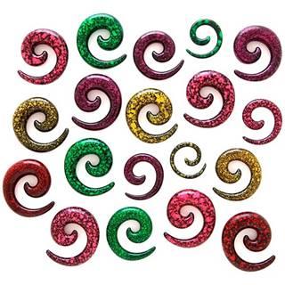 Expander do ucha - špirála, fľakatý povrch - Hrúbka: 3 mm, Farba piercing: Zelená - Čierna