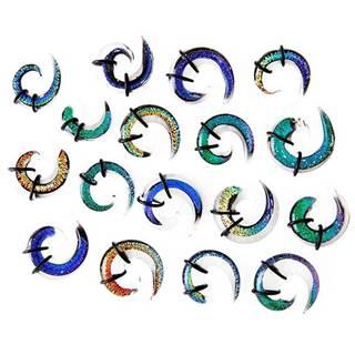 Expander do ucha - viacfarebná sklenená špirálka, gumičky - Hrúbka: 10 mm, Farba piercing: Číra - Tyrkysová - Fialová