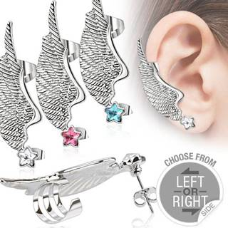 Fake piercing do ucha z ocele - krídlo a farebná zirkónová hviezda - Farba zirkónu: Aqua modrá - Q, Tvar: Ľavý