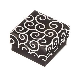 Krabička na náušnice - čierna s točeným motívom